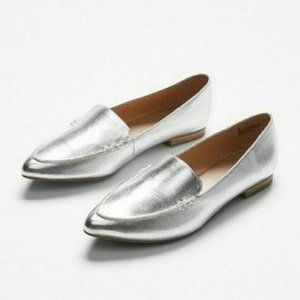 NEW Express Pointed Silver Metallic Loafers Flats